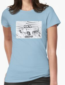 1955 F100 Ford Pickup Truck and Flag Illustration Womens Fitted T-Shirt