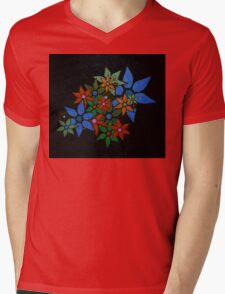 Retro Trendy Floral Pattern Mens V-Neck T-Shirt