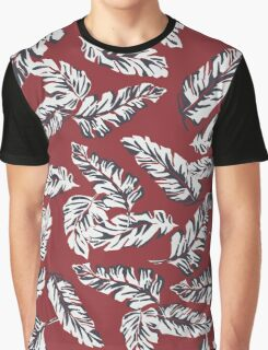 Tropical Leaves - Red Graphic T-Shirt