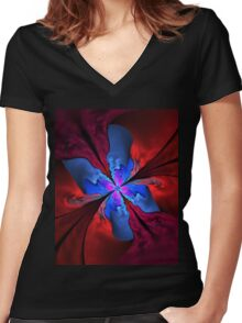 Blue butterfly Women's Fitted V-Neck T-Shirt