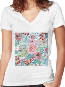 Pretty watercolor hand paint floral artwork Women's Fitted V-Neck T-Shirt