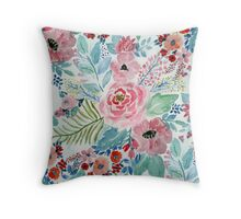 Pretty watercolor hand paint floral artwork Throw Pillow