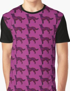 Berry Space Husky Shepherd Mix Silhouette Graphic T-Shirt