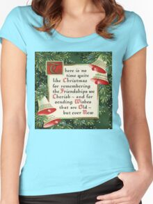 Nostalgic Christmas pine wreath christmas saying friendship Women's Fitted Scoop T-Shirt