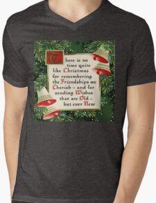 Nostalgic Christmas pine wreath christmas saying friendship Mens V-Neck T-Shirt