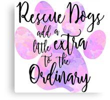 Extraordinary Rescue Dog Watercolor Canvas Print