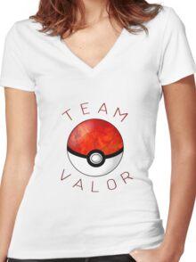 Team Valor- Pokeball Women's Fitted V-Neck T-Shirt