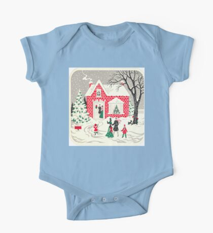 primitive brick house cottage country christmas winter wonderland One Piece - Short Sleeve