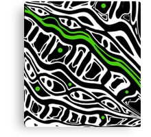 Green, black and white abstraction Canvas Print