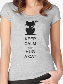 Keep calm and hug a cat (black) Women's Fitted Scoop T-Shirt