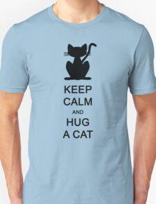 Keep calm and hug a cat (black) Unisex T-Shirt