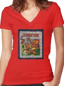Retro Adventure Game Cartridge Women's Fitted V-Neck T-Shirt