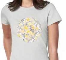 Sunny Yellow Crayon Striped Summer Floral Womens Fitted T-Shirt