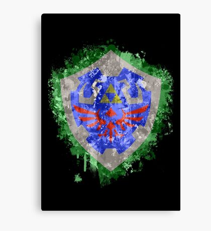 Hylian Shield Splatter Canvas Print