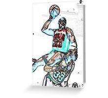 Jordan dunk on Ewing Greeting Card