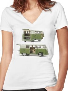 Bay Window Bus green white Women's Fitted V-Neck T-Shirt
