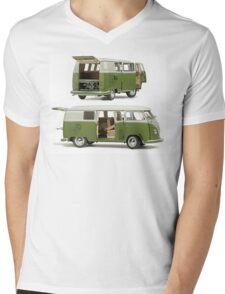 Bay Window Bus green white Mens V-Neck T-Shirt