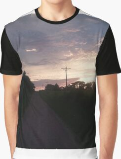 Pink Sky Open Road Photography Graphic T-Shirt