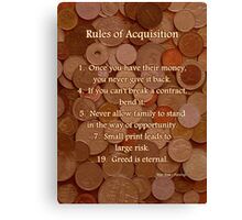 Rules of Acquisition - Part 1 Canvas Print