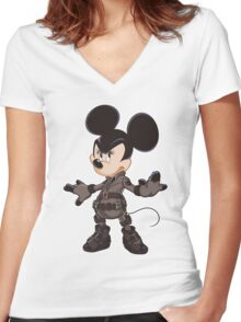 Black Minnie Women's Fitted V-Neck T-Shirt