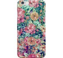 Vintage bohemian pink orange watercolor floral  iPhone Case/Skin