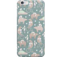 Vintage cute pink brown funny bear rabbit animal pattern iPhone Case/Skin