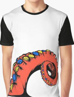 Tentacle Graphic Orange Black Blue and Yellow Graphic T-Shirt