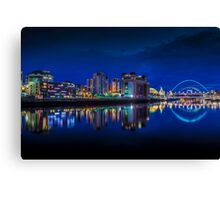 Blue hour on the Quayside newcastle  Canvas Print