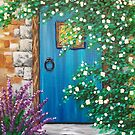 Blue Cottage Door by L.W. Turek