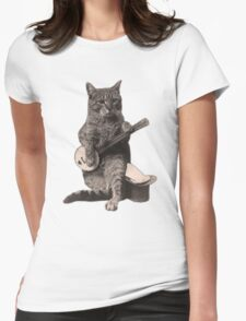 Banjo Cat Womens Fitted T-Shirt