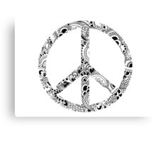 Mandala Peace Sign (Black & White) Canvas Print