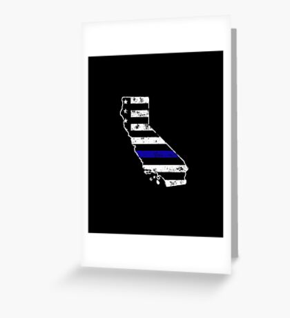 California Thin Blue Line Police Greeting Card