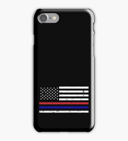 Thin Blue Red Line Flag iPhone Case/Skin