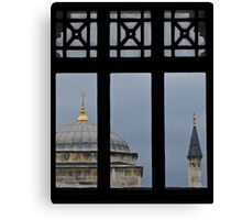 minaret through the window- Istanbul Canvas Print