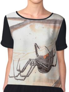 Black Widow Spider Watercolor Chiffon Top