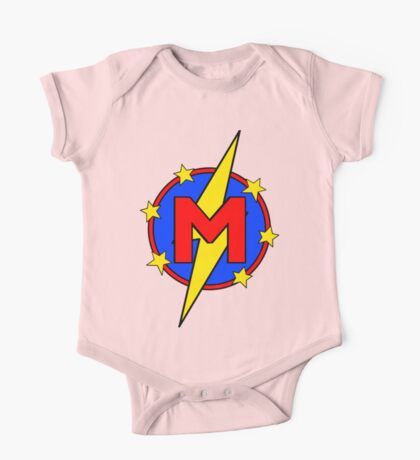 My Cute Little Super Hero - Letter M One Piece - Short Sleeve