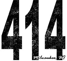 Distressed Milwaukee 414 Area Code by kwg2200