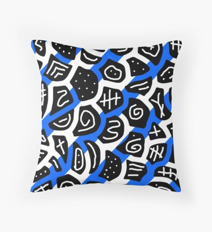 Blue, back and white playful pattern Throw Pillow
