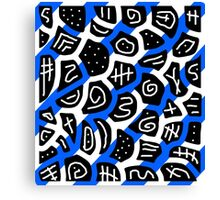 Blue, back and white playful pattern Canvas Print