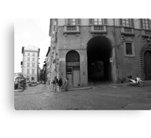Street Scene in Black and White Canvas Print