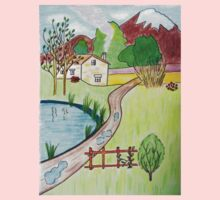Little House near the Pond drawing Kids Tee