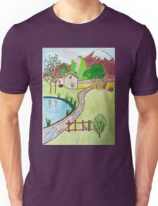 Little House near the Pond drawing Unisex T-Shirt