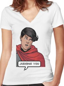 Wiccan is judging you Women's Fitted V-Neck T-Shirt