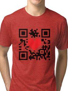 QR Code Heart Love Message  Tri-blend T-Shirt