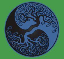 Blue and Black Tree of Life Yin Yang Kids Clothes