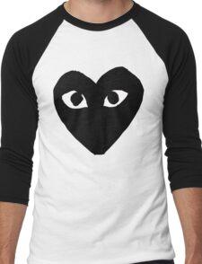 CDG Comme Des Garcons Play Love Heart BLACK Men's Baseball ¾ T-Shirt