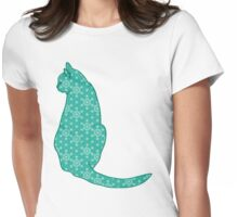 Japanese Cat - Turquoise Kimono Print Womens Fitted T-Shirt