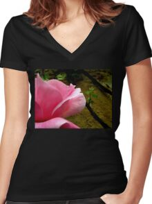 Rose Petals Women's Fitted V-Neck T-Shirt