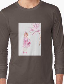 First Day of Spring Watercolour Illustration Long Sleeve T-Shirt