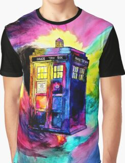 Watercolor TARDIS Graphic T-Shirt
